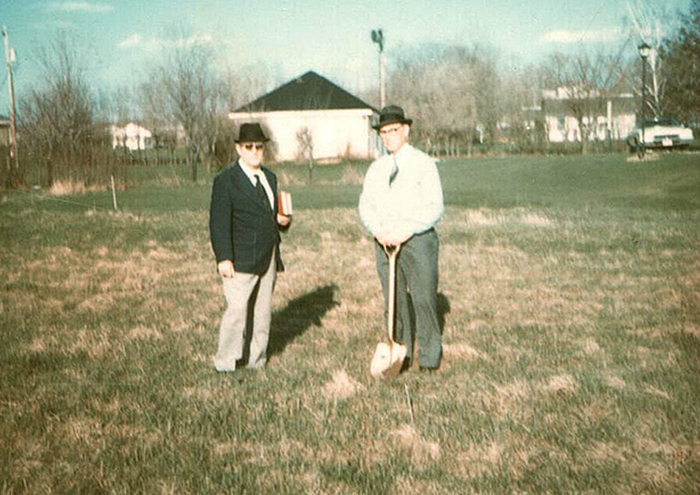 Herman Harder with Pastor WJ Schaefer: Ground Breaking for the Brookfield Chapel in 1972
