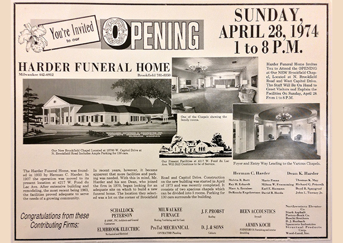 Flyer for the Brookfield Chapel Grand Opening in 1974